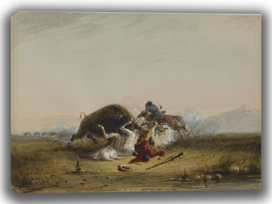 Miller, Alfred Jacob: Pierre and the Buffalo. Fine Art Canvas. Sizes: A4/A3/A2/A1 (003835)